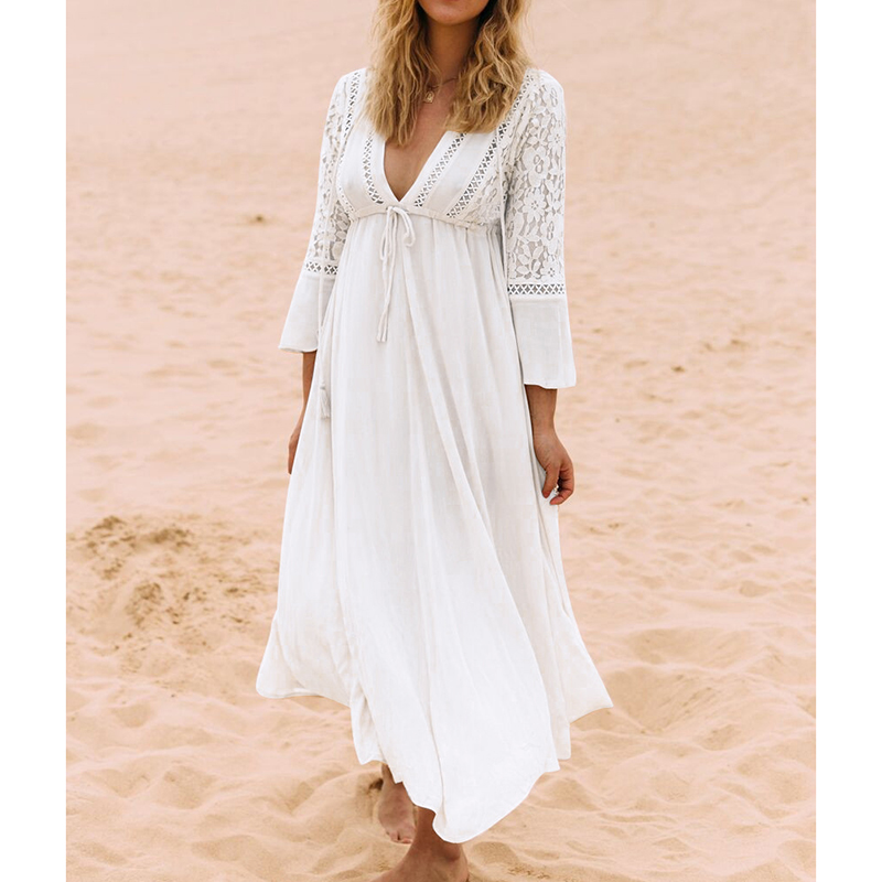 New Beach Cover up Dress Lace Beach Pareos Robe de Plage Cotton Long Beach Dress Bathing suit Cover ups 2017 Swimsuit Coverup outfits para playa mujer 2019