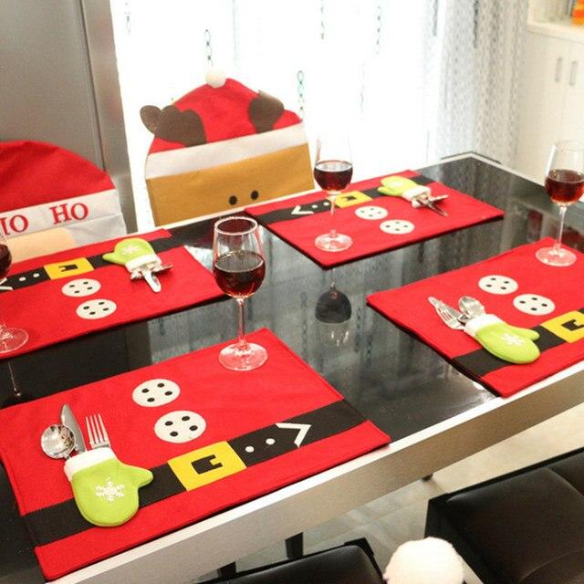 4pcslot lovely christmas table mats xmas home table decor santa napkins cloth cute party