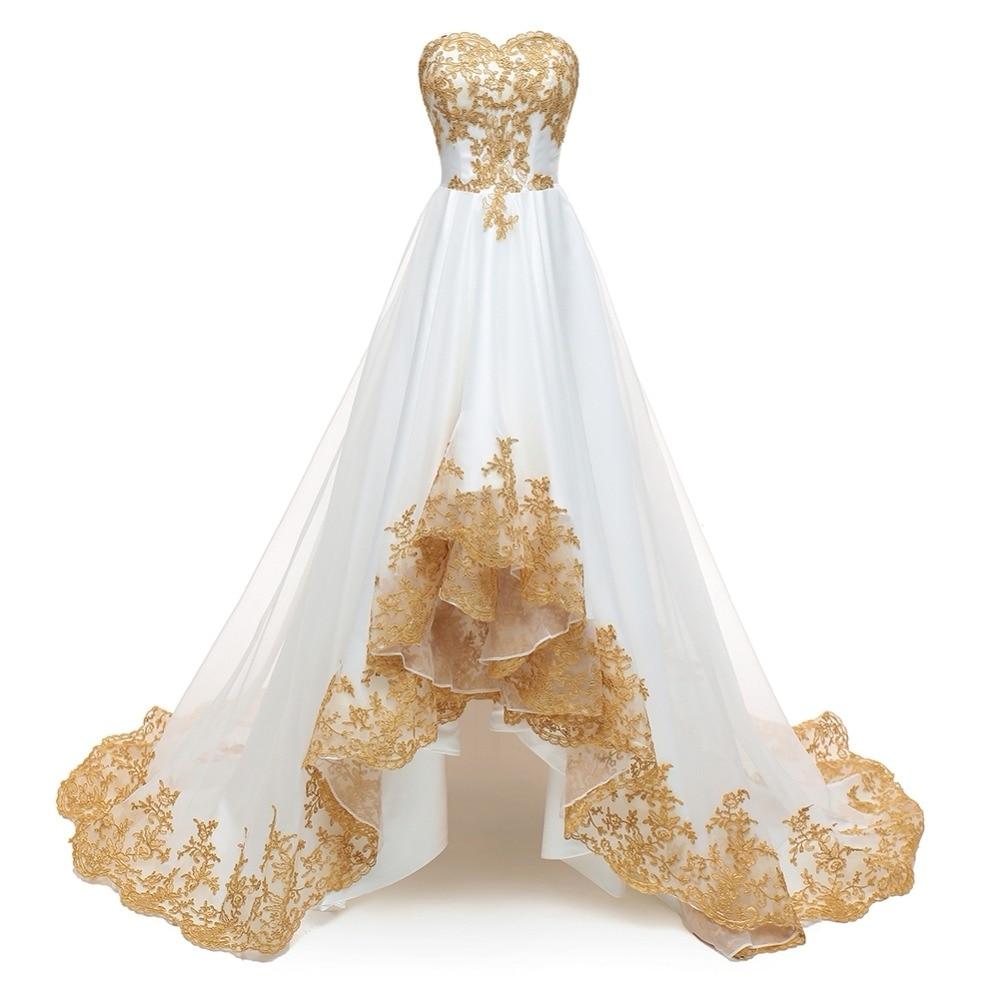 High Low Wedding Dresses 2019 Gold Appliques Plus Size Wedding Gowns Short Front Long Back Bride Dress Robe De Mariage