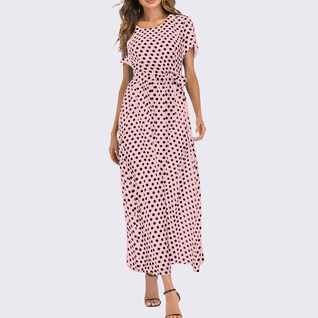 HTB1PAmUaBaE3KVjSZLeq6xsSFXat - Summer Dress Women O-Neck Short Sleeve Boho Polka Dot Bandage Maxi Long Dress Women Beach Sundress Plus Size Vestidos
