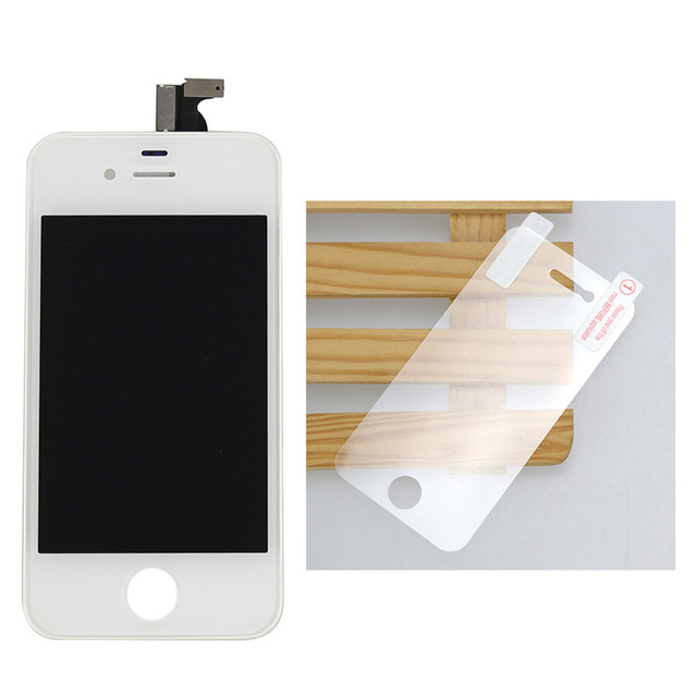 High Quality LCD Display Screen for iphone4S Assembly Touch Digitizer with Replacement Color Black/White+1 glass film,Free ship!