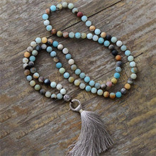 New Design Natural 8mm Amazonite Stone Necklace 108 Beads Mala Yoga Meditation Tassel Long Necklace for Fashion Women Wholesale new boho natural amazonite stones beads chain skeleton horn statement necklace for women jewelry factory wholesale