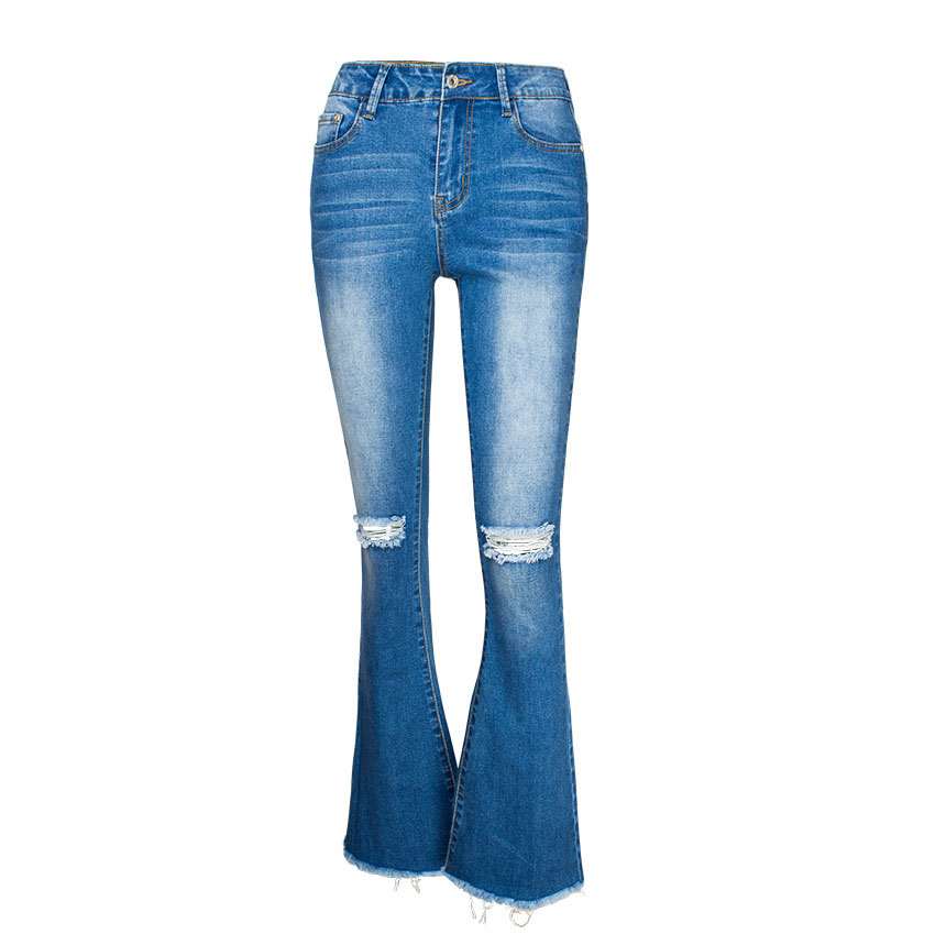 Women\`s dress of Europe and America 2018 new wide leg trousers jeans denim flared trousers women\`s worn-out edge trousers (15)