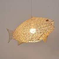 Modern simple rattan fish chandelier restaurant personality creative hand woven fish shaped lamp