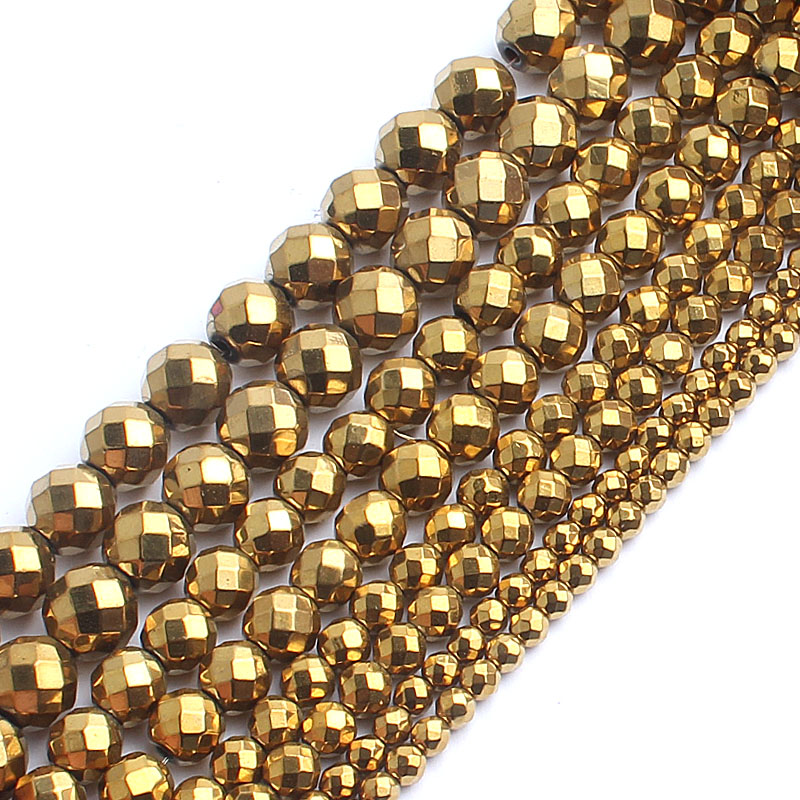 Natrual Faceted Gold Plated Hematite Stone Round Beads For Jewelry Making Bracelet Necklace 2/3/4/6/8/10mm 15inches Diy Jewelry