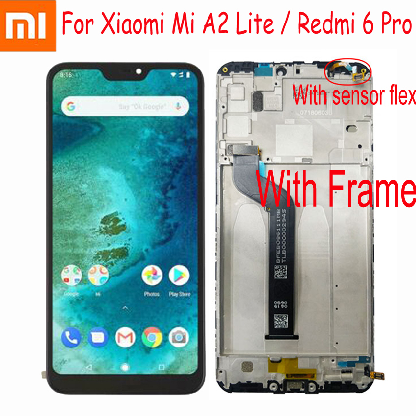 Image 2 - Original Xiaomi Mi A2 Lite 5.84 inch touch screen digitizer assembly For Xiaomi Redmi 6 Pro with Frame sensor repair-in Mobile Phone LCD Screens from Cellphones & Telecommunications