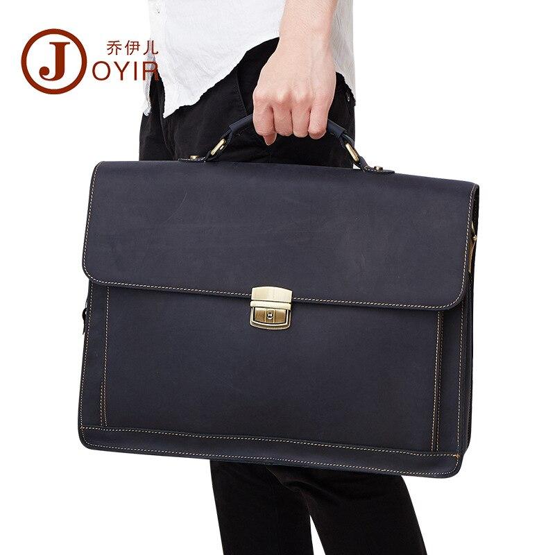 Handtaschen Leder Business Kausalen Aktentaschen Männer Laptop Messenger Schulter Herren Taschen Echtem Blue Vintage Männlichen Qualität coffee Joyir Hohe Tasche 5nqH1P0wS