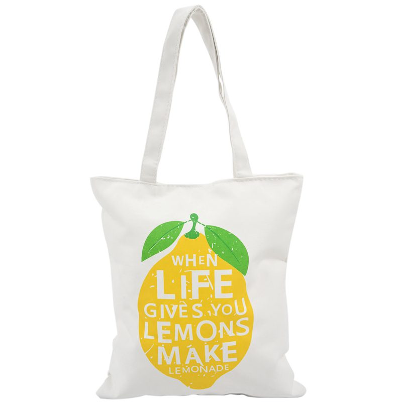 Canvas Tote Bag with Zipper Closure Grocery Shopping Bag Shoulder Bag for Women Girls Students Lemon pattern(China)