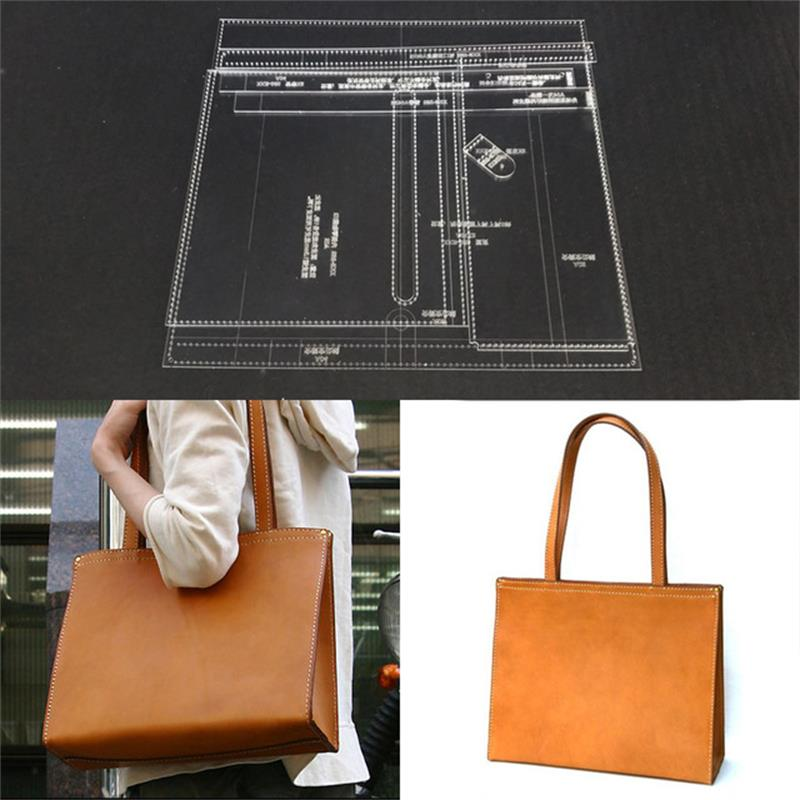 Shoulder Bag Acrylic Leather Handbag Template Leather Craft Pattern DIY Hobby LeatherCraft Tool Set Sewing Pattern 38x30x12cm