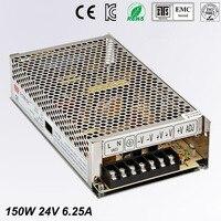 Single Output Uninterruptible Adjustable 24V 150W Switching power supply unit 110V 240Vac to dc smps for LED Strip light cnc