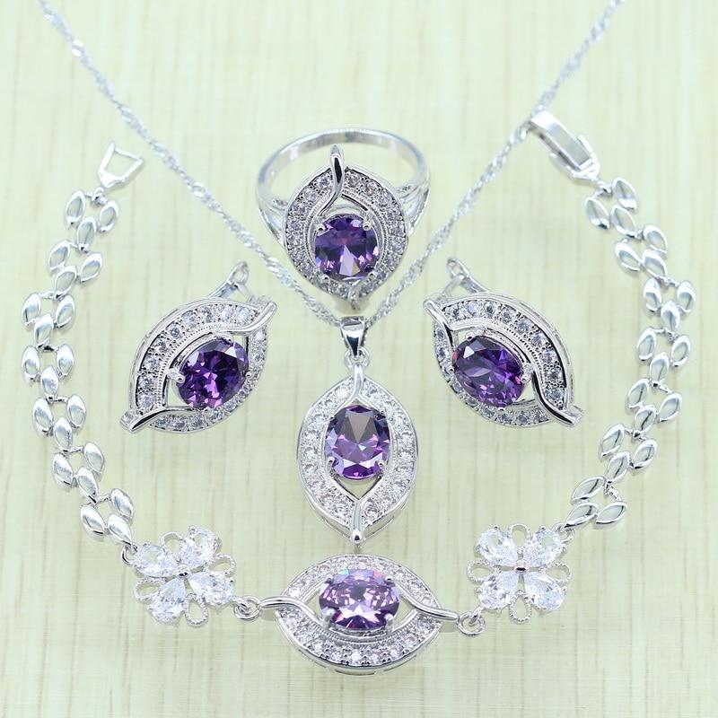 fd0157c97 925 logo Eye Purple Crystal White Zircon Jewelry Set For Women Silver Color  Bracelets/Earrings/Ring/Necklace/Pendant