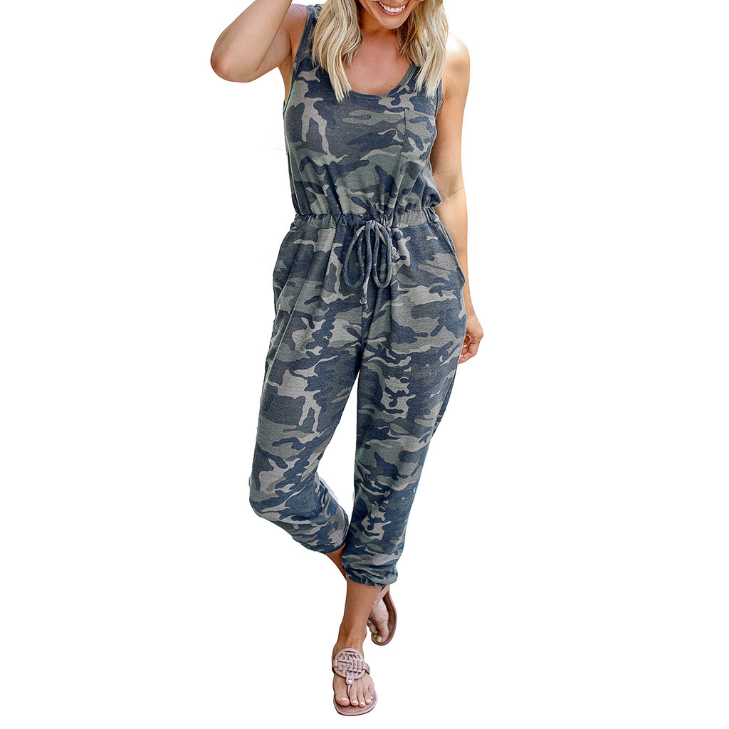 Summer Women's Camouflage Jumpsuit Sleeveless Strapless Lace Up Casual Jumpsuit O Neck Fashion Loose Jumpsuits #Y1