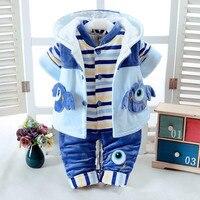 0 2Y Autumn Winter Warm Girl Sets Vest + Coat + Pants 3PS Cotton Thicken Baby Boy Suit Kids Clothes Newborn Fashion Tracksuit