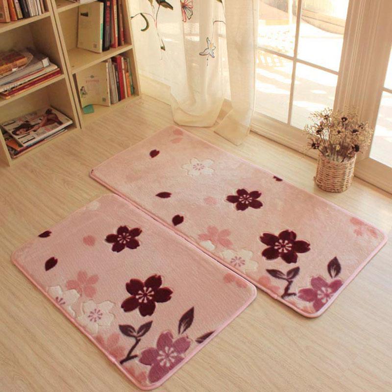 Blume Drucken Wohnzimmer Carpet Plsch Rutschfeste Kche Matte Maschine Waschbar Kinder TeppichChina Mainland