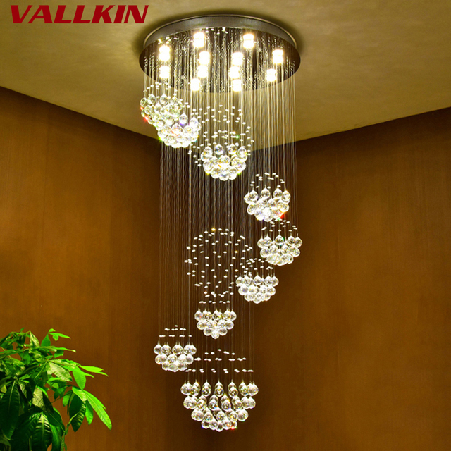 Modern led crystal chandelier lamp luxury led crystal chandeliers ceiling mounting indoor spiral pendant lamps for