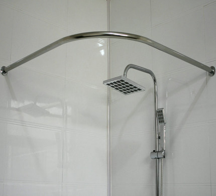 Thick stainless steel round U shaped curved shower curtain rod L ...