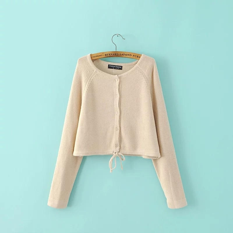 Autumn Fashion Women Draw-string Cardigans Long Sleeves Female Knitted Casual Sweaters