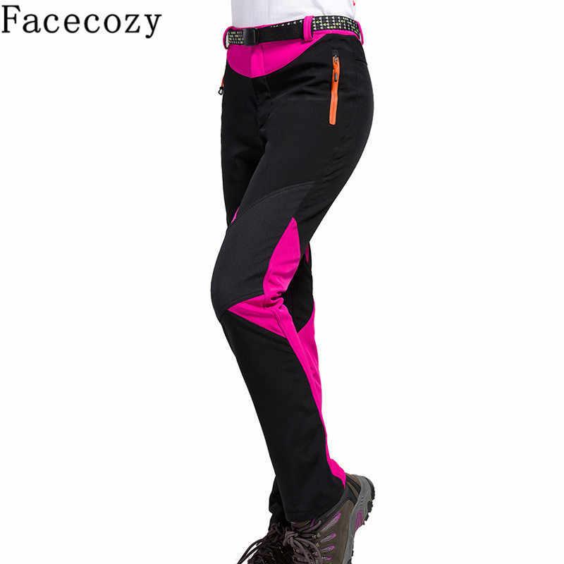 Facecozy 女性の冬の屋外パッチワークハイキングソフトシェルパンツ秋防風インナーフリーストレッキング & キャンプ暖かいズボン