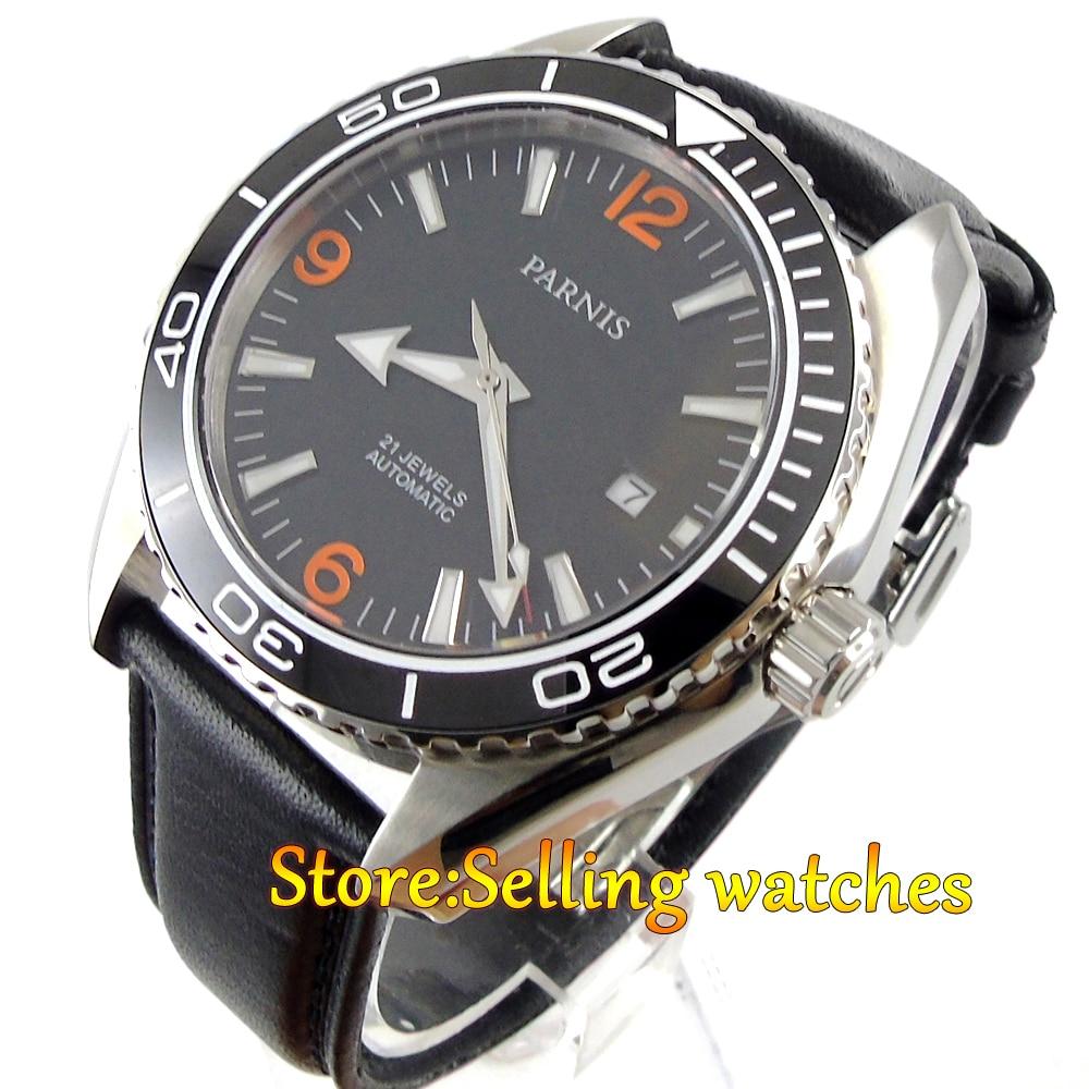Parnis 45mm Sapphire Glass Ceramic Bezel Luminous Automatic Men 316L Watch 45mm parnis sapphire glass ceramic bezel luminous automatic men 316l watch