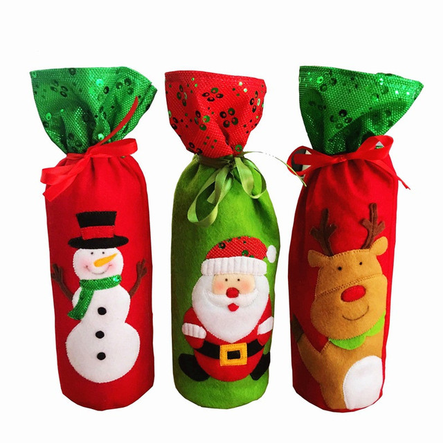 Christmas decorative Wine Bottle Cover Bags Decoration Home Party Santa Claus Christmas Wine storage bag containers  sc 1 st  AliExpress.com & Christmas decorative Wine Bottle Cover Bags Decoration Home Party ...