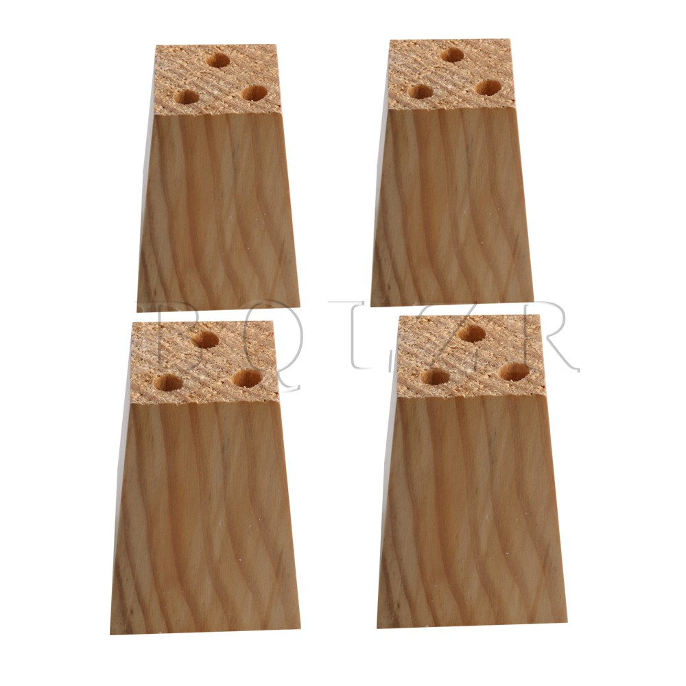 4x BQLZR 2.95x2.95x3.93 Natural Wood Pine Trapezoidal Sofa Legs Furniture Feet 3 Hole Sofa DIY Pack of 4