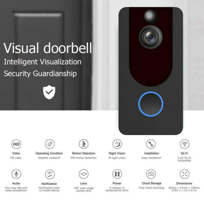 1080P WiFi Video Doorbell  Wireless Video Doorbell For Phone Intercom Remote1080P WiFi Video Doorbell  Wireless Video Doorbell For Phone Intercom Remote