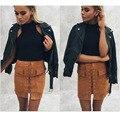 Mujeres 90's vintage de cintura alta de bolsillo externo apretado suede lace up falda otoño invierno grueso lápiz falda de muy buen gusto de mini falda