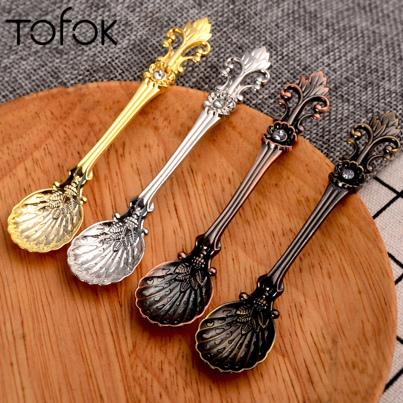 Tofok Retro Coffee Spoon Arabic Style Dessert Spice Mixing Scoop Tea Cream Yogurt Stirring Spoon Alloy Baking Cake Decor Tools in Other Cake Tools from Home Garden