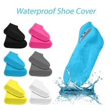 1 Pair Waterproof Reusable Non-Slip Rubber Rain Shoe Covers, Elasticity Galoshes Boot Overshoes Traveling Bicycle Accessories