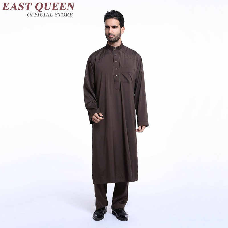 2018 新着イスラム教徒の服男性スタンド教徒のローブ長袖無地イスラム教徒メンズ服 S-XXXL AA2395 YQ