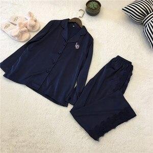 Image 2 - Женский пижамный комплект Lisacmvpnel, с отложным воротником, искусственный шелк, повседневный пижамный комплект, Женская домашняя одежда