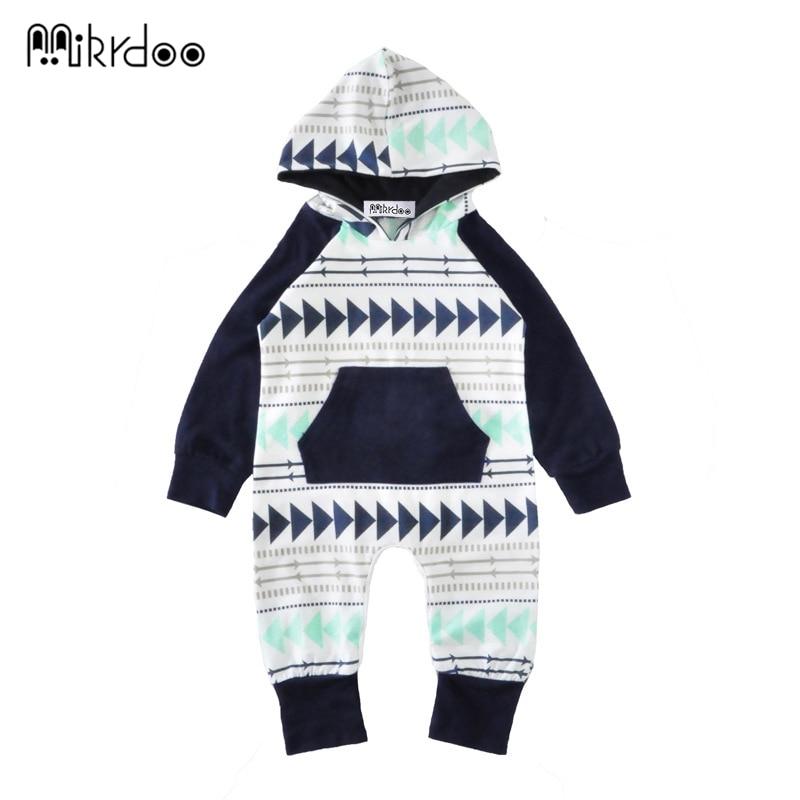 2018 New Autumn Knitted baby boys girls clothes set long-sleeve geometric Newborn baby Romper jumpsuit roupas de bebe