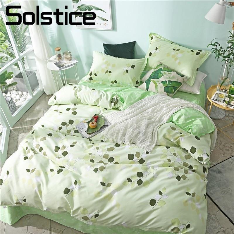 Solstice Home Textile Green Leaf Bedding Sets Girl Kid Teens Natural Bedlinen Duvet Quilt Cover Pillowcases Bed Sheet King Queen