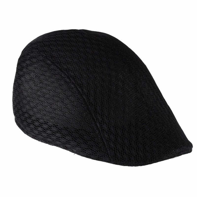 Yaz Unisex güneş örgü bere kap erkekler kadınlar Newsboy Golf Cabbie düz doruğa şapka Casquette nefes bereliler