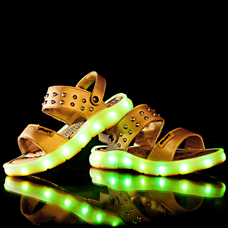 Summer Rivets USB Charging Led Kid Beach Sandals For Boys And Girls Excellent PU Leather Children Lighting Up Sandal