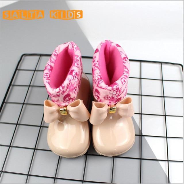 Водонепроницаемый ребенок резиновые Сапоги и ботинки для девочек желе мягкий детской обуви обувь для девочки Детские Непромокаемые Сапоги и ботинки для девочек с бантом Обувь для девочек Дети дождь shoeswarm bo40