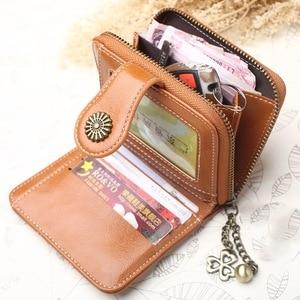 Image 4 - 2020 Nieuwe Vintage Knop Telefoon Portemonnees Vrouwen Portefeuilles Vrouwelijke Portemonnee Lederen Merk Retro Dames Lange Rits Vrouw Wallet Card Koppeling
