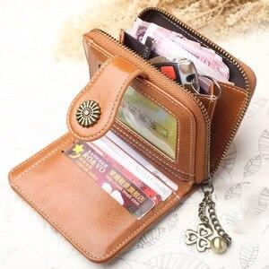 Image 4 - 2020 yeni Vintage düğme telefon çantalar kadın cüzdan bayan çanta deri marka Retro bayanlar uzun fermuar kadın cüzdan kart debriyaj