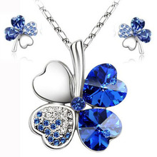 Hot sale  lucky clovers necklace Austrian crystal necklace earring jewelry set free shipping
