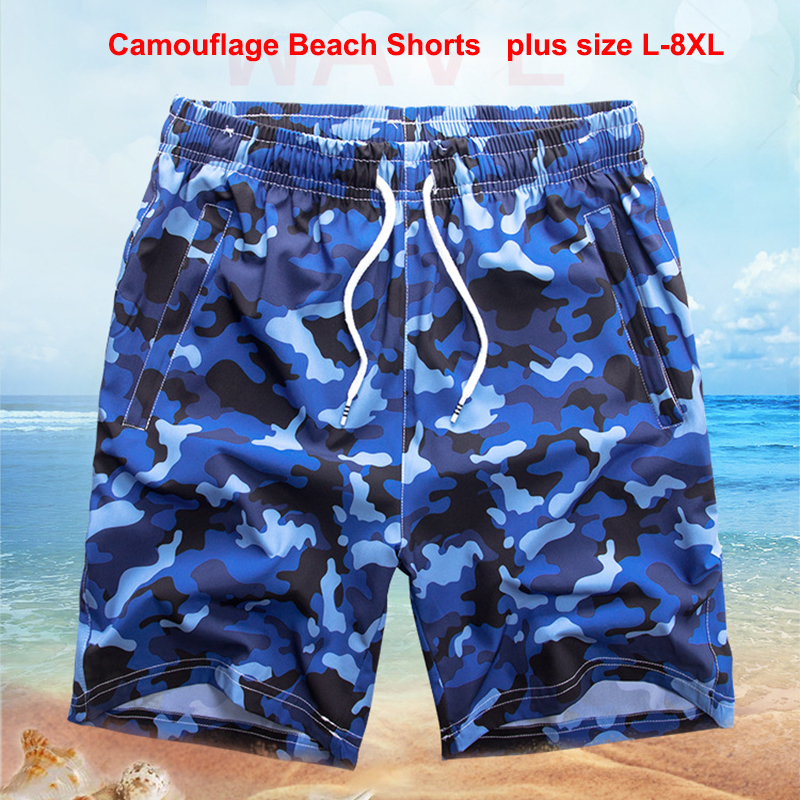 Camouflage Beach Shorts Men Bottoms Quick Dry Shorts Printing Swimming Surfing Short Summer Draw String Elastic Waist Shorts Men