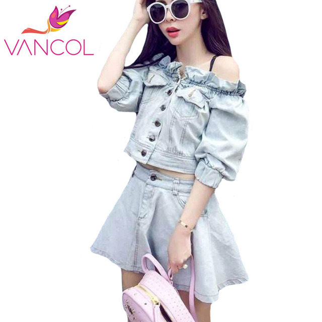 Vancol 2016 Denim Dress Crop Top and Skirt Set Off Shoulder Half Sleeve Short Mini A Line Sexy Dress Ladies Two Piece Outfits