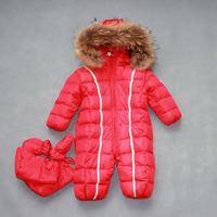 2017 russia winter natural fur baby clothes baby girls boys Thick Warm jumpsuit down rompers kids clothing