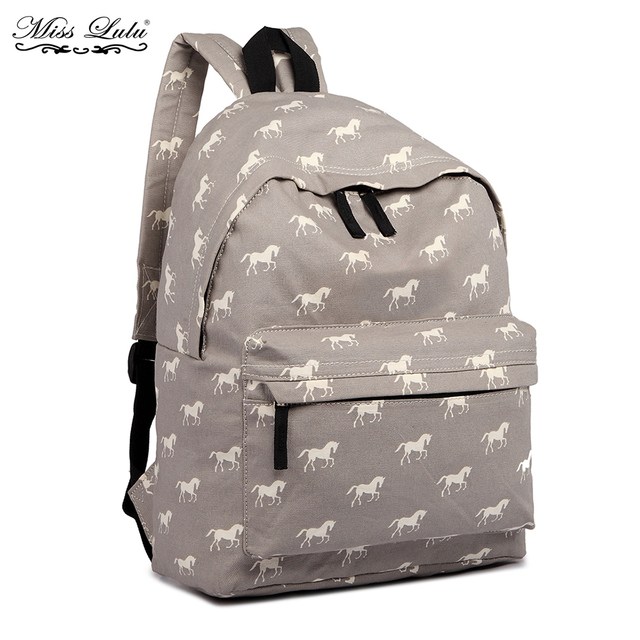 cf7079b9bb Miss Lulu Women Backpacks School Bags for Teenager Girls Boys Horse Canvas  Travel Rucksack Ladies Daypack Bolsas Mochila E1401