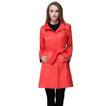 2018 Fashion women's medium-long intellectuality slim outerwear double layer chromophous preppystyle trench Red, orange v504 2