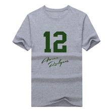 2017 New 100% Cotton green bay Aaron Rodgers signed 12 T-shirt funny packers T Shirt 0116-2