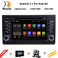 Quad Core 7 inch Android 7.1 Car DVD Player For Audi A4 2003 2008 Touchscreen Audio Bluetooth In Dash Car Stereo GPS Navigation
