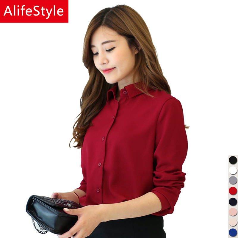 White Chiffon Blouse 2017 Women Shirt Fashion Casual Plus Size Blouses Long Sleeve Shirts Ladies Office Shirts Women Tops Blusas