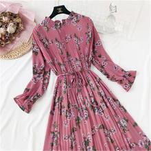 Женское шифоновое платье трапеция повседневное с винтажным принтом