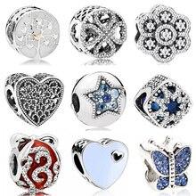 Винтажные панковские маленькие яблони, собаки, дерева, сердца, цветы, бусины, подвески, подходят для браслетов Пандора и браслетов для женщин, новая мода, сделай сам