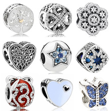 Vintage Punk Small Apple Dog Tree Love Hearts Flowers Beads Charms Fit Pandora Bracelets & Bangles for Women New Fashion DIY (China)